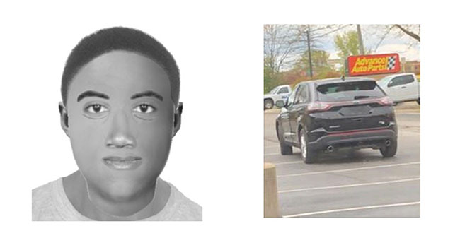 drawing of suspect and photo of car