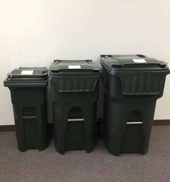 Three garbage cart sizes for comparison