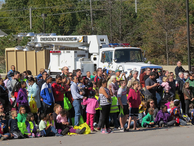 Spectators take in an auto extrication demonstration