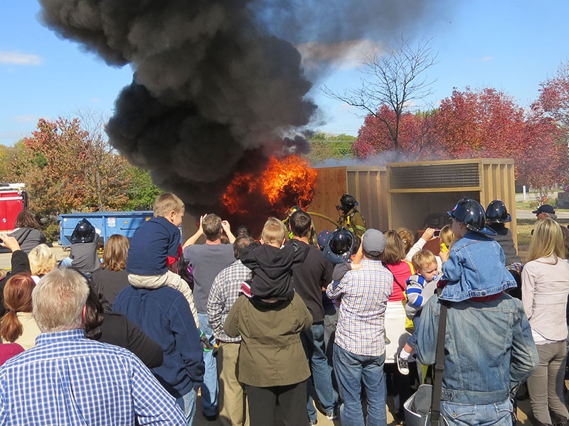 A flashover fire demonstration