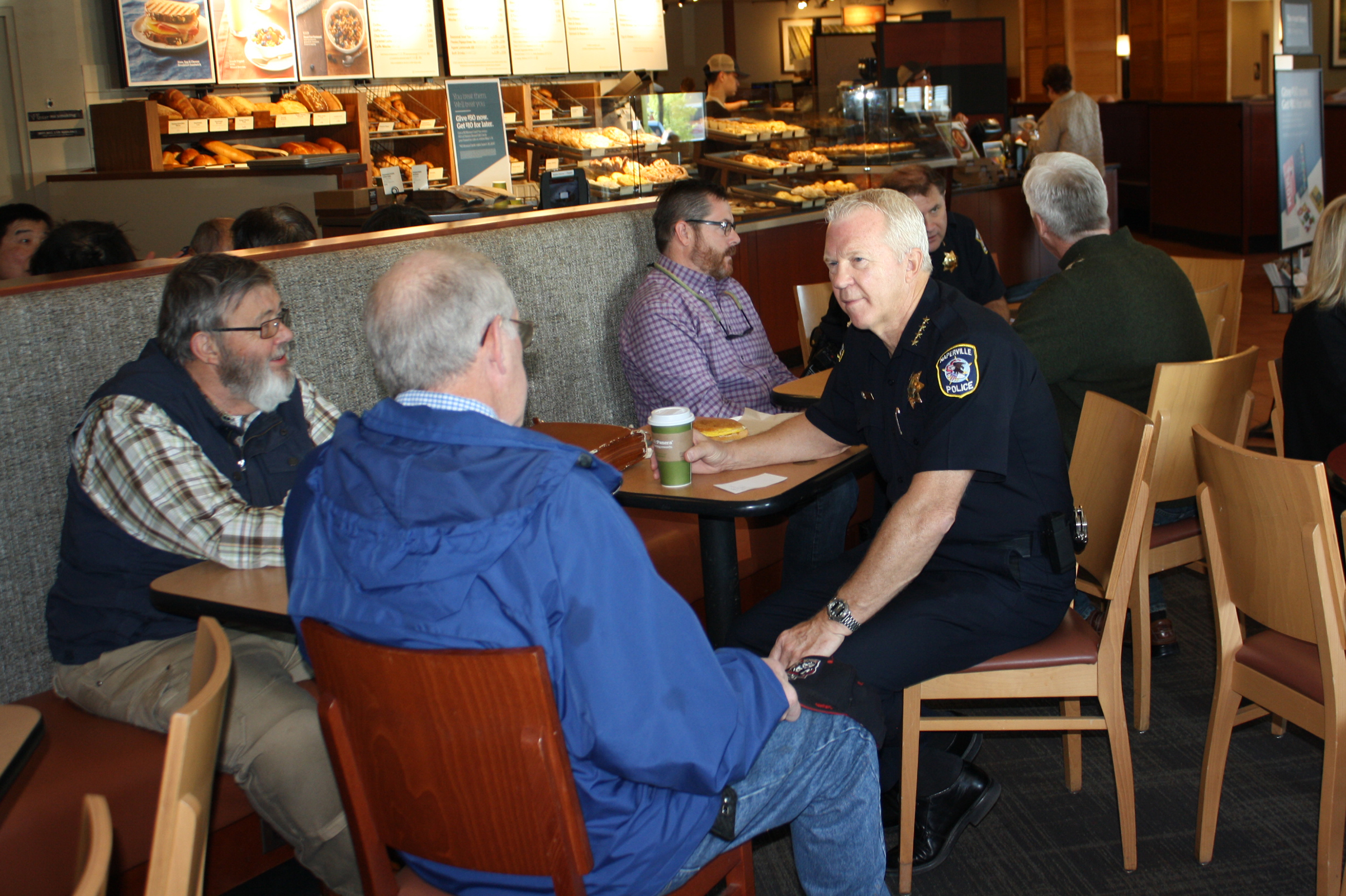 """naperville chat Naperville police chief robert marshall invites the community to chat with him and members of his senior staff over coffee on friday, march 2 this informal meet-and-greet is part of the naperville police department's """"chat with the chief"""" series and will be held from 10am to noon at the starbucks reserve located at 42 w jefferson ave in."""