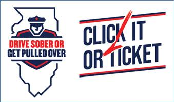 Drive Sober or Get Pulled Over and Click It or Ticket logos