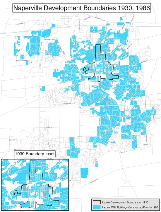 Naperville Development Boundaries - 1930,1986