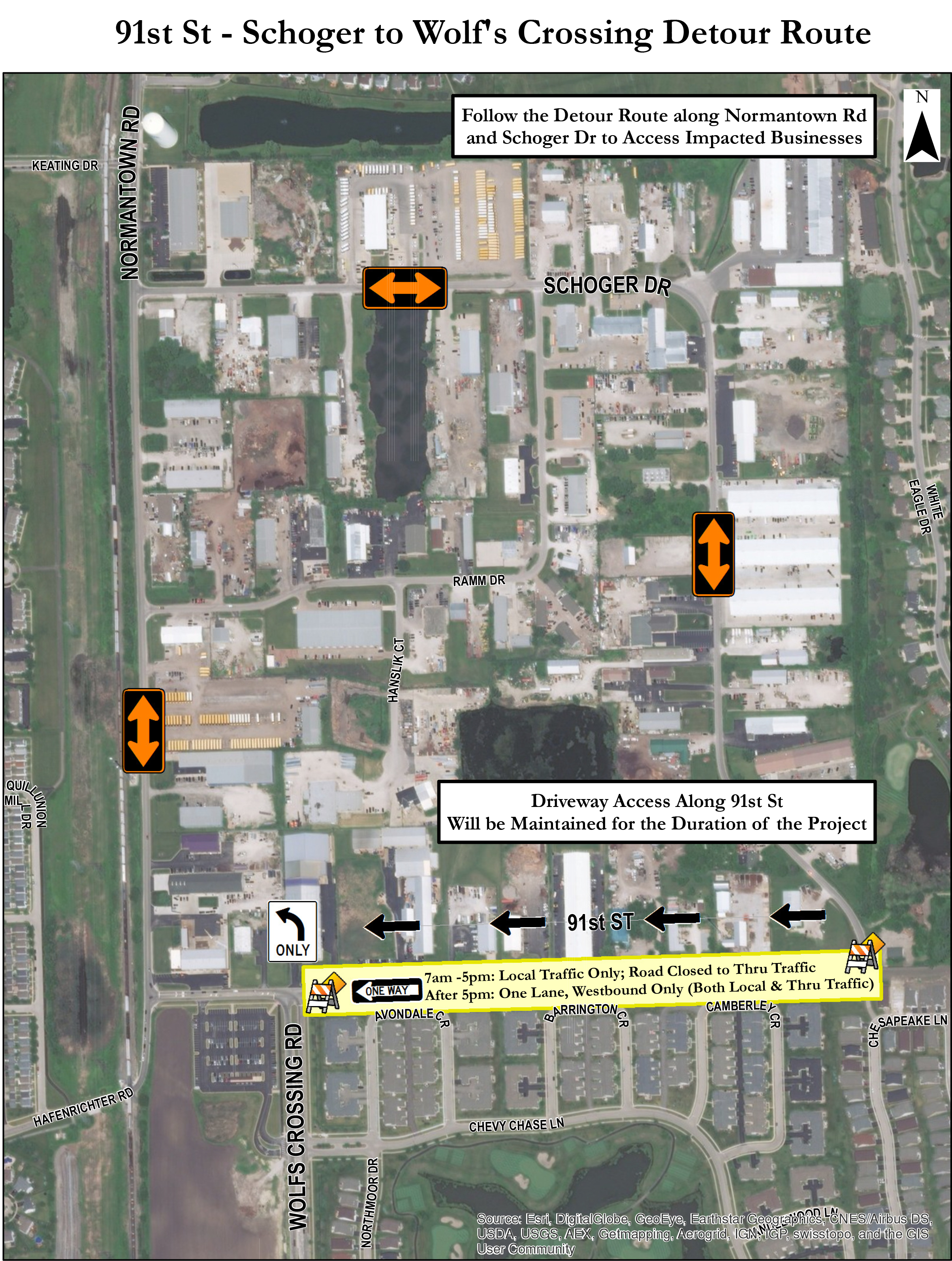 Detour map for the 91st Street Improvement Project