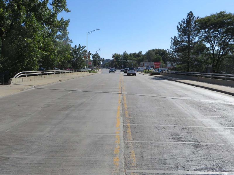 Image of the road surface on the Downtown Washington Street Bridge